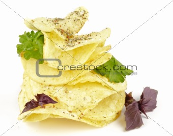 Potato Chips pyramid with basil and parsley