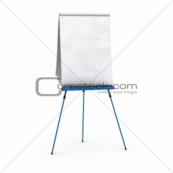 blank flipchart over white background