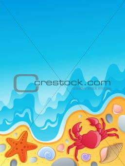 Beach with shells and sea animals 2