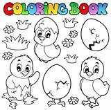 Coloring book with cute chickens