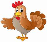 Happy cartoon hen
