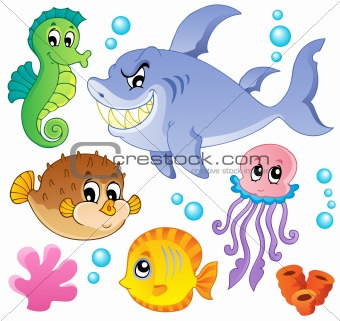 Sea fishes and animals collection 4