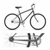 Bicycle with wheels, pedals, chain gear, and tires