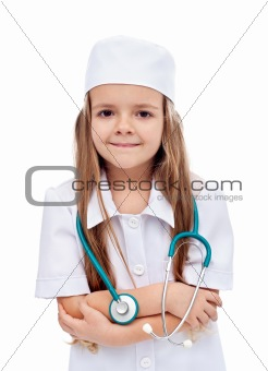 Little girl playing nurse or doctor
