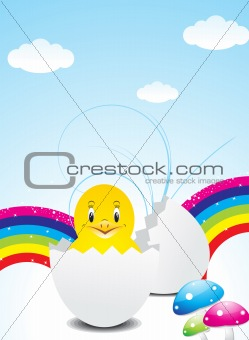 abstract colorful easter wth bird