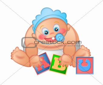 Baby Boy Playing with Alphabet Blocks