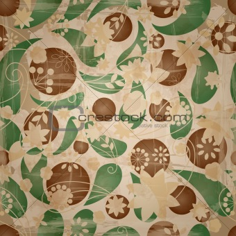 vector retro seamless  pattern with spring flowers at the backgr