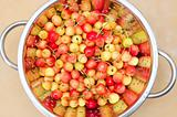 fresh cherry in colander