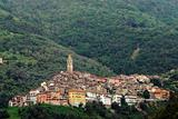 Panoramic view of town Castel Vittorio in Liguria Italy