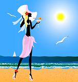 blonde on the beach