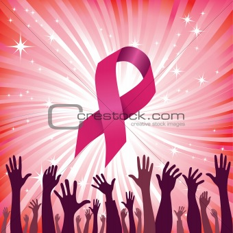 Breast cancer ribbon vector illustration. Woman solidarity.