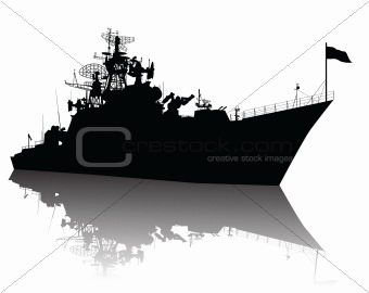High detailed ship silhouette