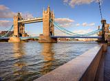 Tower Bridge in London England on blue sky day