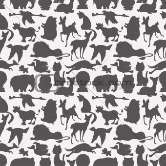 Seamless animals silhouettes
