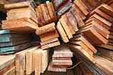 Stack of wooden boards.