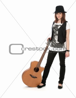 girl with the guitar isolated on white background