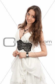 Portrait of an young woman with beautiful long hairs, isolated o