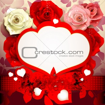 Background with roses and hearts