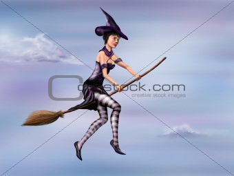 Witch riding her broom