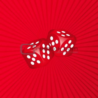 3D Dice on Red Background