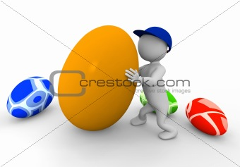 3d man with eggs