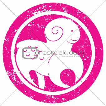 Zodiac sign aries stamp