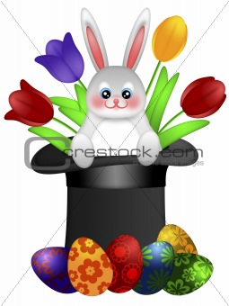 Easter Day Bunny in Magician Hat