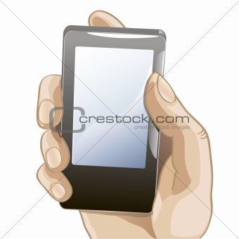 illustration of mobile phone in the hand