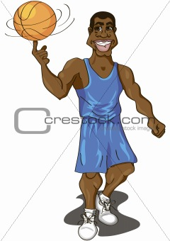 cartoon illustration of a cute basketball player spinning the ball on his finger
