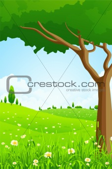 Green Landscape with Flowers and Trees
