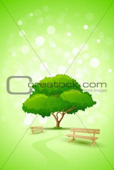 Abstract Green Tree Background with Bench