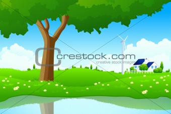 Green Landscape with Tree Wind Power Station and House