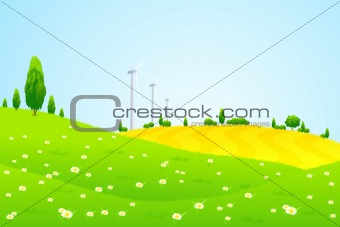 Green Landscape with Wind Power Station Trees and Flowers