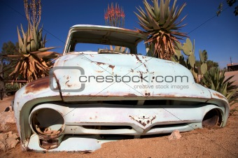 crashed car in the desert