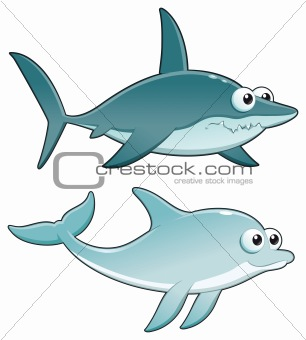 Dolphin and Shark.