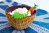 ice cream in chocolate waffle cones