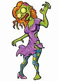 Cartoon sexy female zombie
