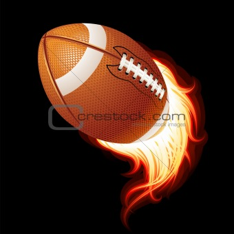 American football ball on a black background