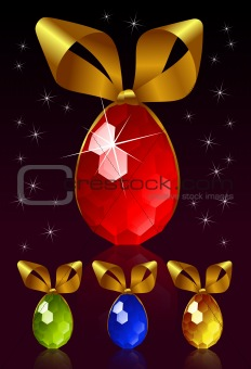 Easter egg with golden bow