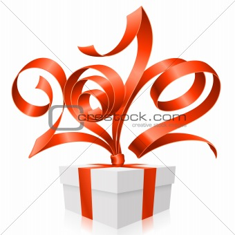 Vector gift box and red ribbon in the shape of 2012