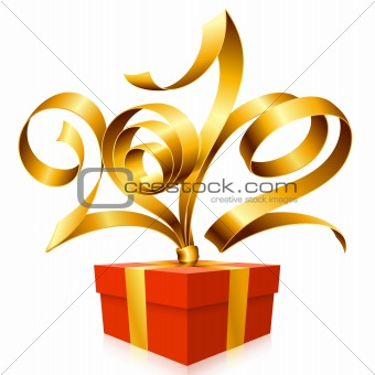 New Year and Christmas background with vector golden ribbon and gift box