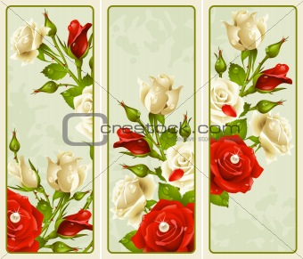 Rose set vertical banners