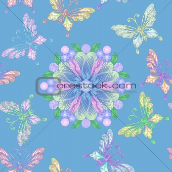 vector seamless floral lace with butterflies