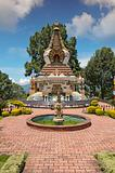 Kopan Monastery temple garden and fountain view in Kathmandu Nep