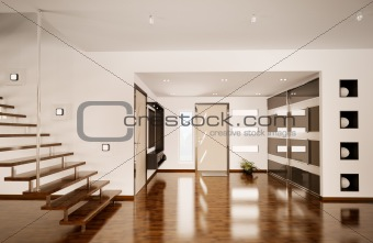 Modern interior of hall 3d render