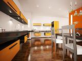 Modern orange kitchen interior 3d render