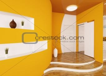 Modern interior of entrance hall 3d render