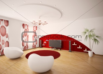 Modern interior of living room 3d render