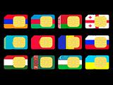 SIM cards represented as flags of countries from CIS