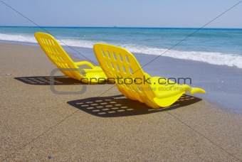 Two yellow beach chair
